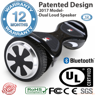 "Black Eagle™ BLACK Smart Hoverboard Bluetooth -6.5"" 700 watts motor -12 months warranty- x16.5"